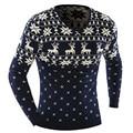 2016 Suéteres O-cuello Elegante Deer Animal Print Suéter Hombres Suéteres Hombres Suéter de Punto de Manga Larga Jersey de Tamaño XXL