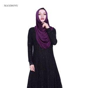 Image 5 - TJ85 Mới Dễ Dàng Mặc Hồi Giáo Hijabs Fashionscarf Của Phụ Nữ Tơ Lụa Vành Cao Số Lượng Nữ Khăn Showl (Không Thổ Cẩm)
