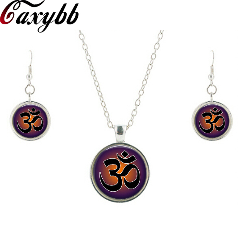 New vintage yoga necklace earring jewelry sets Om pendant symbol Mandala Zen glass cabochon chorker necklaces 100% handmade