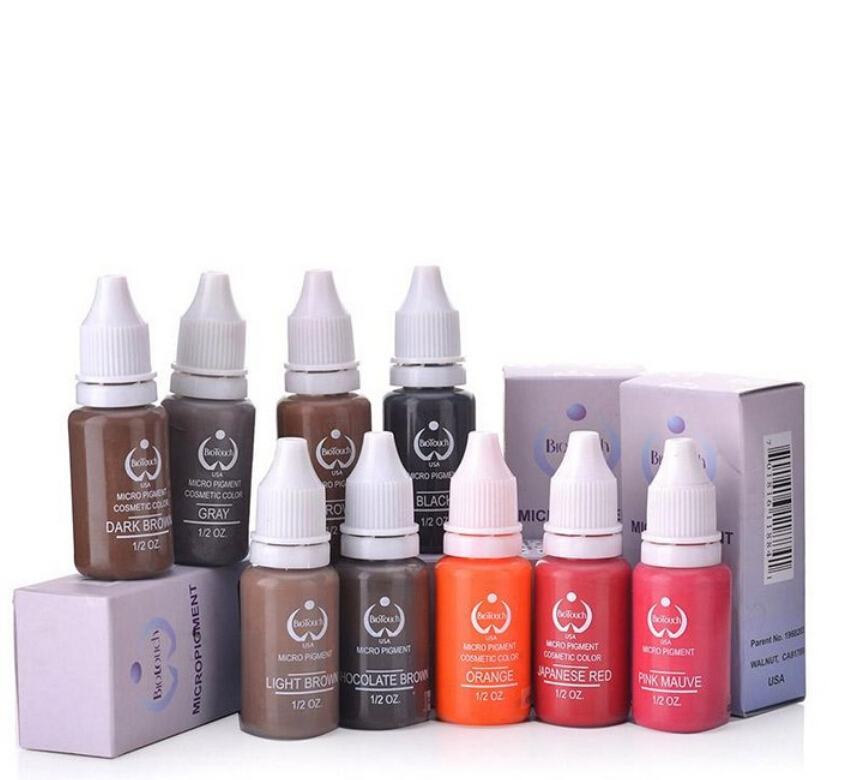 7Pcs/Pack Biotouch Eyebrow&eyeliner& lip Permanent Makeup Tattoo ink brand Micro pigment Lasting Long 15ml cosmetics supply