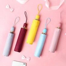 Automatic three-fold umbrella sunshade sun protection UV umbrellas men and women rain dual-use small fresh