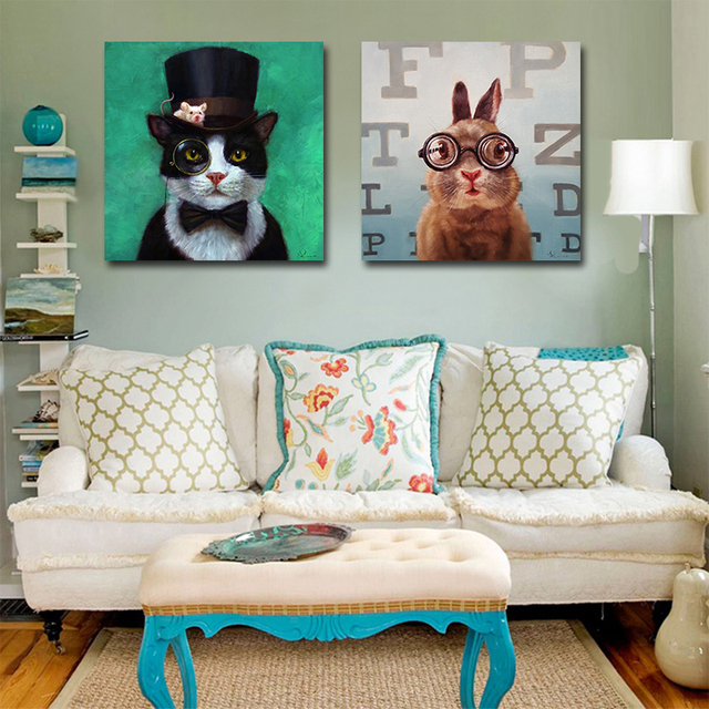 MUTU Wall Art Cartoon Canvas Painting Animal Picture Poster Prints A Cat and A Mouse With Glasses Painting Home Decor No Frame