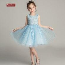 JaneyGao Bloem Meisje Jurken Voor Wedding Party Meisje Formele Jurken Zomer Birthday Party Gown Leuke Hemelsblauw Roze Wit Nieuwe
