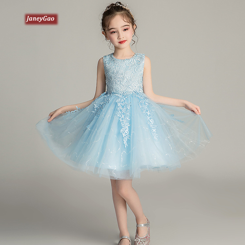 JaneyGao Flower Girl Dresses For Wedding Party Little Girl Formal Dresses Summer Birthday Party Gown Cute Skyblue Pink White New