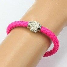 Unisex Brief  Wristband Rhinestone Buckle Leather Wrap Bracelet Bangle Hand Accessories Fashion High Quality Original Design