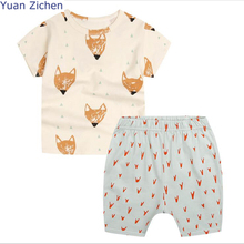 2017 Promotion Limited Children's Clothes 2pcs Short Sleeve 100% Cotton Printing Fox T-shirt+pants Boys O-neck Summer Clothing