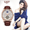 Reloj mecánico automático para Mujer marca LIGE reloj deportivo Tourbillon cuero Casual impermeable reloj de pulsera