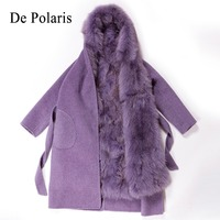mink coats women Real natural Raccoon fur lining winter jacket Long hooded parkas mink fur coat real fur