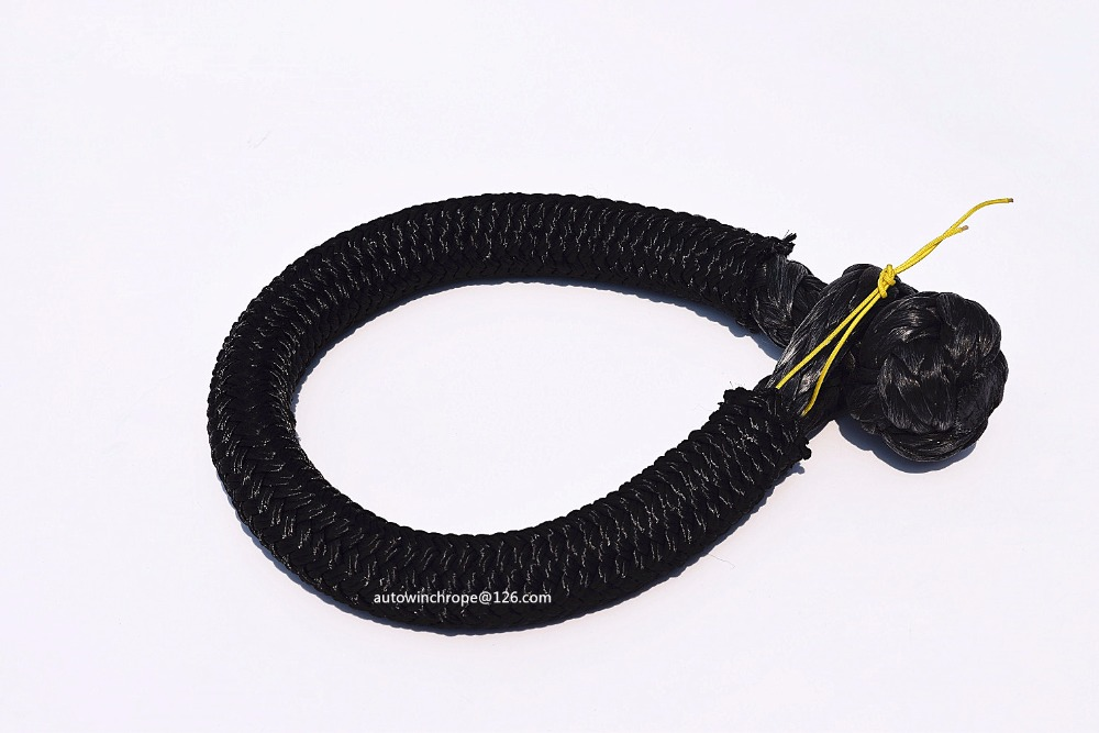 Black 9mm*80mm Soft Shackles,ATV Winch Shackle with Sleeve, UHMWPE Shackle for Yacht