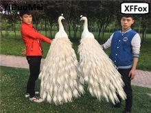 a pair of big real life peacock models foam&feather simulation white beautiful bird gift about 150cm xf0323