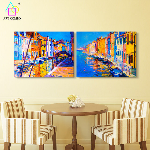 Contemporary Art Painting Water City Colorful Venice Wall Painting ...