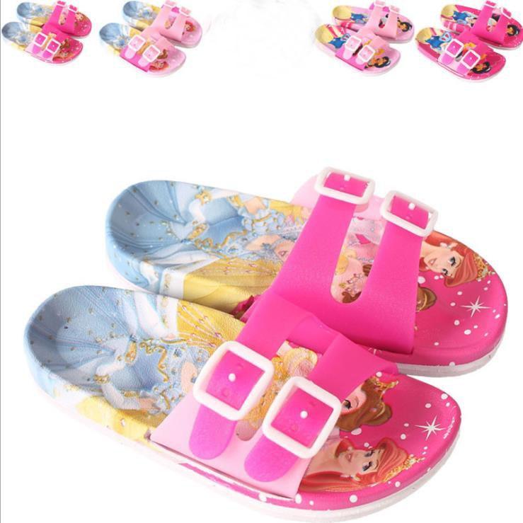4782bc04588 25% niños niñas verano PVC zapatillas suave dibujos animados Sofia nieve  blanco antideslizante flip flop casa Zapatos de baño XQ01