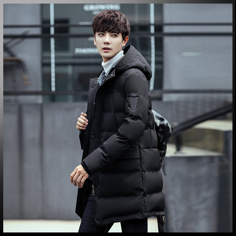 Winter thickening men Korean fashion Collocation personality long paragraph 2017 new hood coat tide cotton jacket Free shipping winter self cultivation in the long paragraph cotton 2017 new men s jacket men s cotton jacket handsome trend
