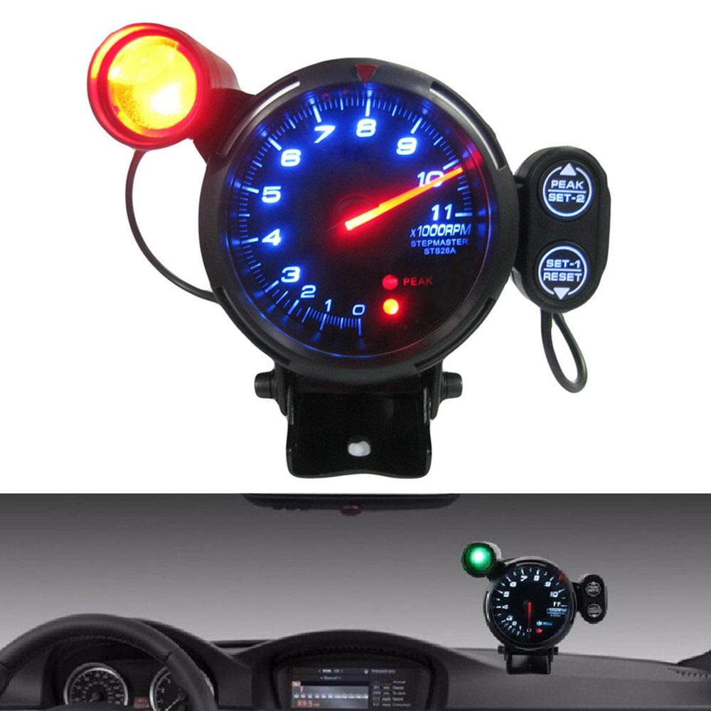80mm Speed Tachometer Kit Blue Led 11000 Rpm Adjustable Shift Light + Stepping Motor Meter + Warning Car Tacho Gauge 3.15 Inch Structural Disabilities