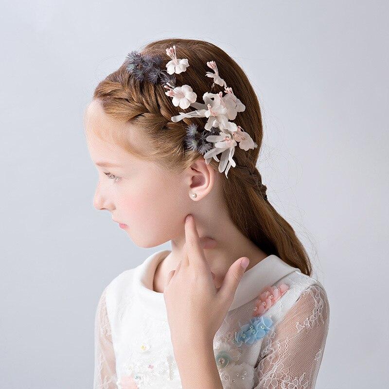 One Pair Artificial Flower Hair Clips Girls Barrettes Accessories Handmade Children Headpiece Ornaments Birthday Party Headdress
