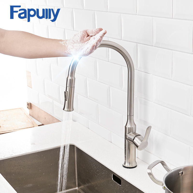 Fapully Sense Automatic Kitchen Faucet Brushed Nickel Dual Out Pull Spray Sink Hot Cold Water Smart Touch Sensor Tap