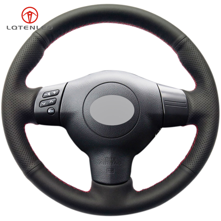 LQTENLEO Black Genuine Leather DIY Hand stitched Car Steering Wheel Cover for Toyota Corolla 2004 2006