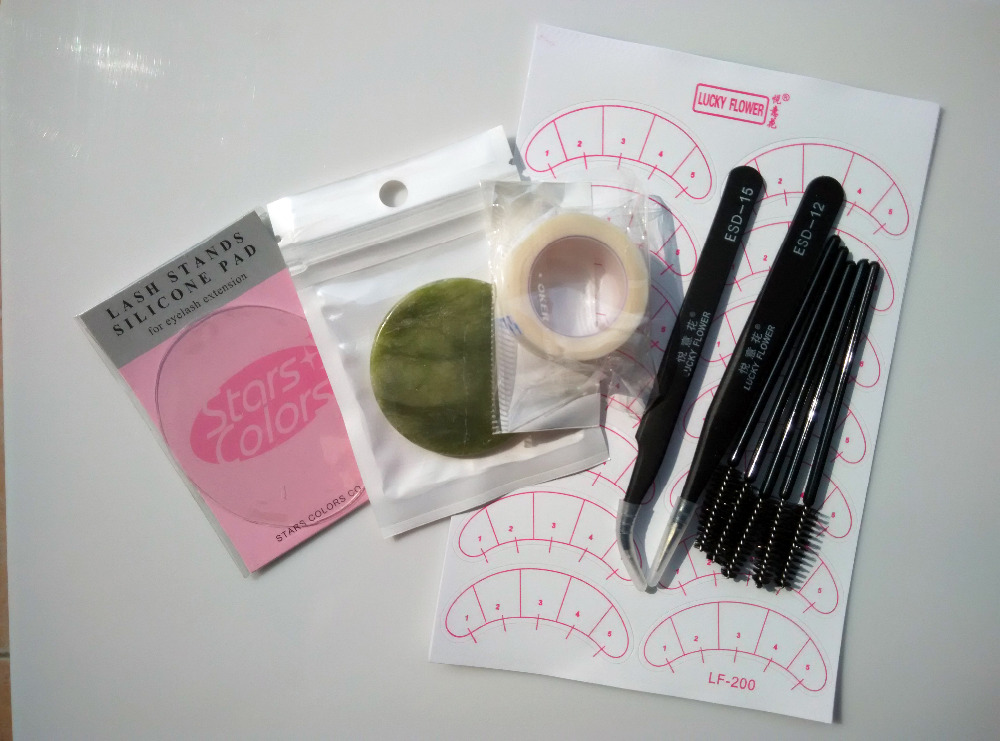 7 pcs Eyelash Extension Tool Individual False Eyelashes Extension Tools Glue Jade stand Lash Stand Upper Tape Under Eye Pads