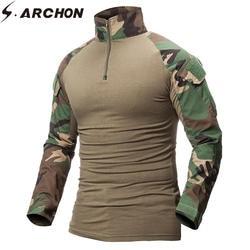 S. ARCHON быстросохнущая Военная Униформа армейская футболка для мужчин с длинным рукавом Камуфляж Тактический рубашка Охота боевой солдат