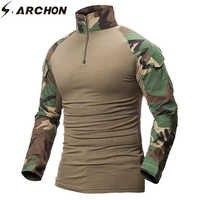 S. ARCHON Quick Dry Militaire Leger T-Shirt Mannen Lange Mouw Camouflage Tactische Shirt Hunt Combat Soldier Field T-shirts Uitloper
