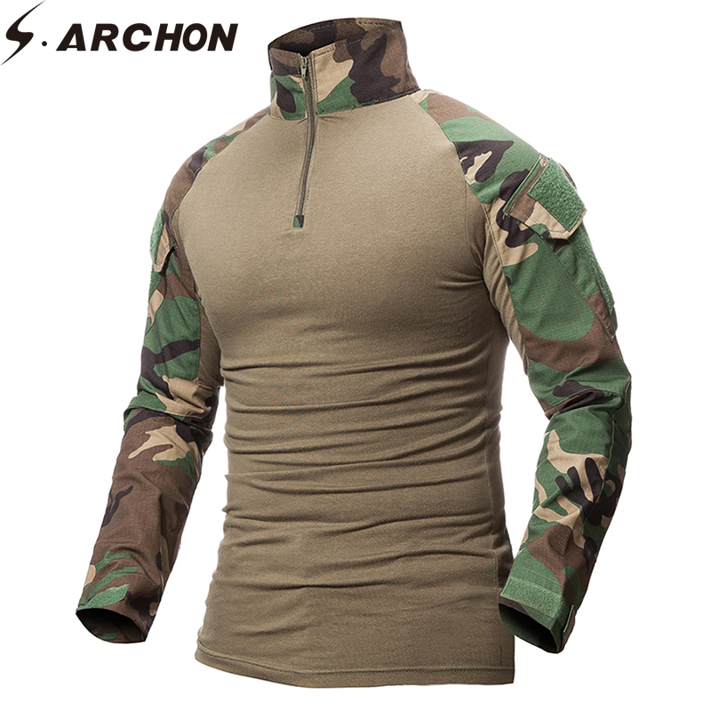 S.ARCHON Quick Dry Military Army T-Shirt Men Long Sleeve Camouflage Tactical Shirt Hunt Combat Soldier Field T-shirts Outwear