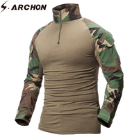 S ARCHON Quick Dry Military Army T Shirt Men Long Sleeve Camouflage Tactical Shirt Hunt Combat