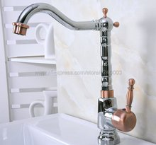 Polished Chrome Swivel Spout Bathroom Kitchen Vessel Sink Mixer Tap Deck Mount Hot Cold Water Mixer Tap Kna916 цены онлайн