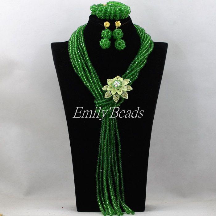 2016 mode mariage africain perles de cristal nigérian Costume bijoux ensemble vert colliers de mariée ensemble Fuchsia livraison gratuite AIJ731