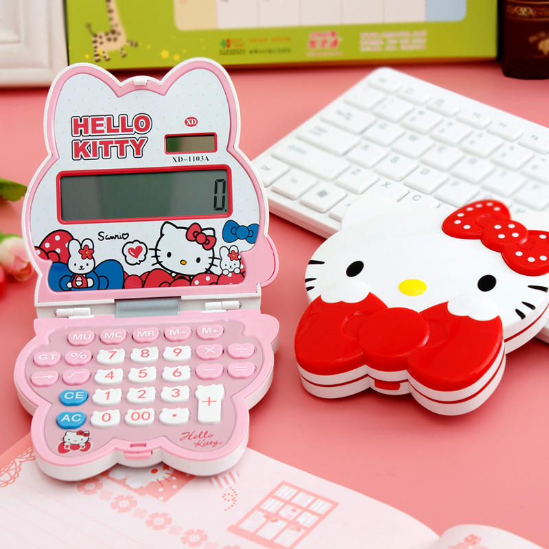 Portable cartoon solar hello kitty calculator 12 finance student exam office computer