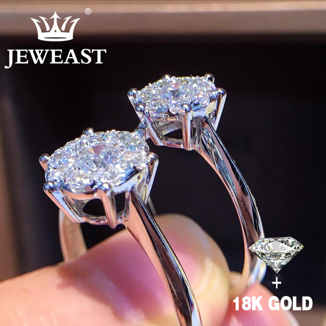 Natural Diamond 18K Gold Pure AU 750 Gold Solid Gold Rings Beautiful Upscale Trendy Classic Party Fine Jewelry Hot Sell New 2020
