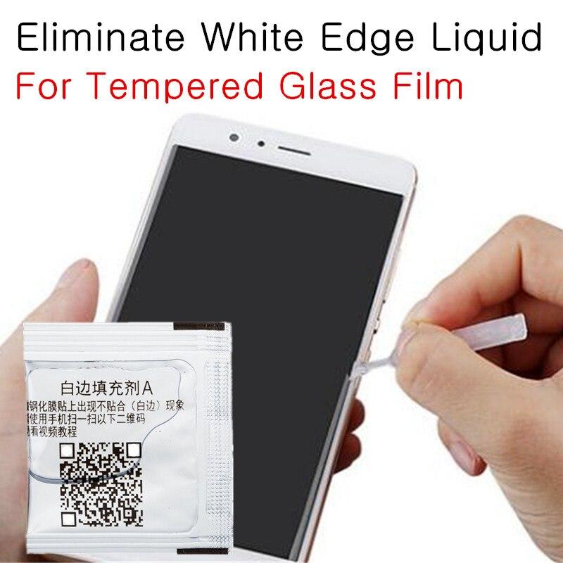 Tempered Glass Eliminate Liquid Glue For Phone White Arc Edge Screen Protector Filler Border Fill Oil Revising Liquid With Brush