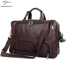 Genuine leather business men's bags, large leather men's bags, 17 inch laptop bag Multifunctional men's briefcase 7289