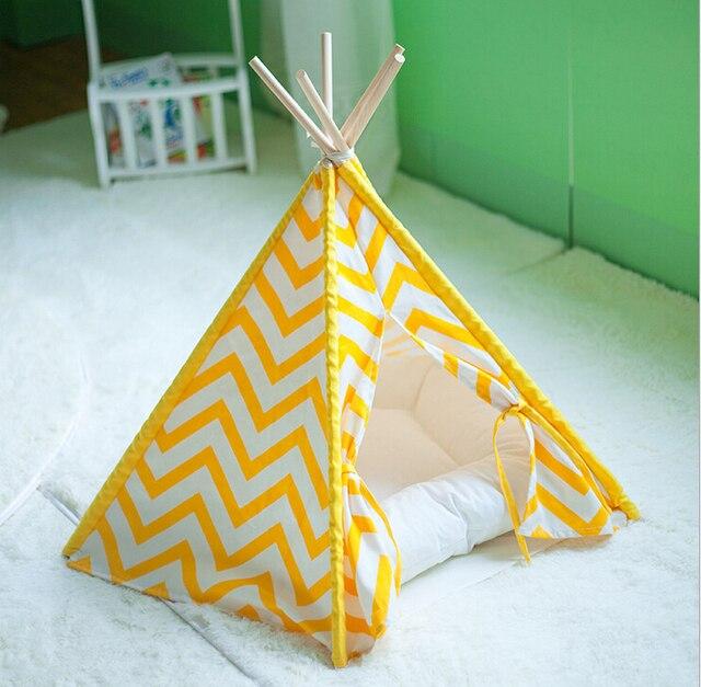 Yellow Stripe Pet Teepee Indian Tents & Yellow Stripe Pet Teepee Indian Tents-in Houses Kennels u0026 Pens ...
