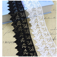 New Arrival 1Yard Appro6.5CM Black White Lace Fabric DIY Crafts Sewing On Supplies Decoration Accessories For Garments Trim