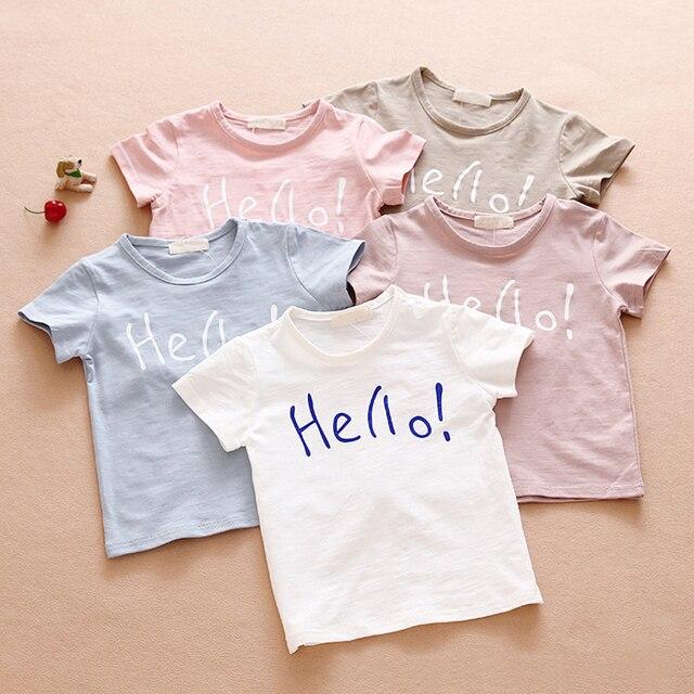 2016 детский летний хлопка с коротким рукавом круглый шеи футболку сплошной цвет детские письма толстовка Бесплатная доставка