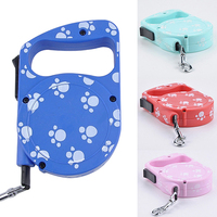 Hot! 3m Dog Footprint Lead Retractable Leash Pet Traction Rope Chain Harness Collar