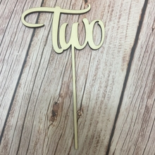 5pcs laser cut out number TWO wood number baby shower cake topper two tone cut out chain bag