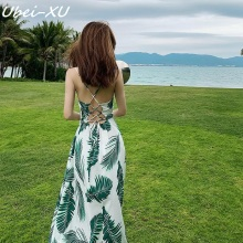 Ubei 2019 Bohemian long dress sexy backless beach vacation women chiffon print maxi