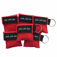 500Pcs/Pack CPR Life Key CPR Resuscitator Mask With Key Chain Key Ring First Aid Rescue Kit With Red Pouch Health Care Tool