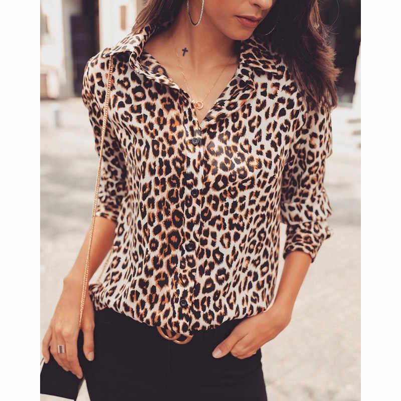 8096b3a97a17 Das Mulheres da forma da Cópia do Leopardo Tops de Manga Longa Mulheres  Blusas Soltas Camisas