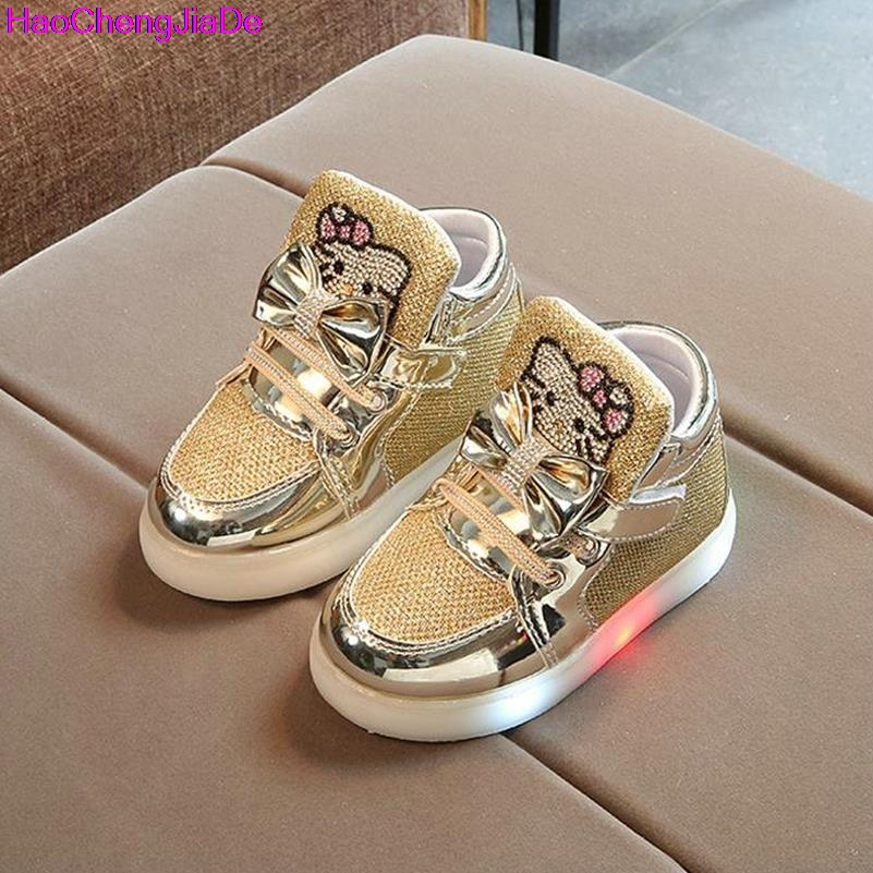 HaoChengJiaDe Kids Shoe New Spring Autumn Winter Children's Sneakers Chaussure Enfant Hello Kitty Girls Flat Shoe With LED Light