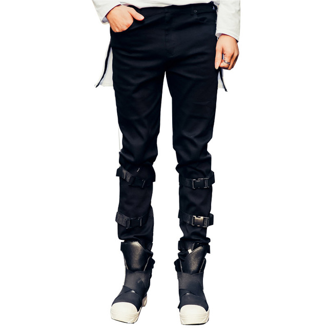 2017 spring new men casual pants legs buckle design men's denim pant high street fashion hiphop trousers stage show clothing