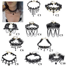 Halloween Gothic Choker Necklace Black Lace Choker Necklace Necklace(China)