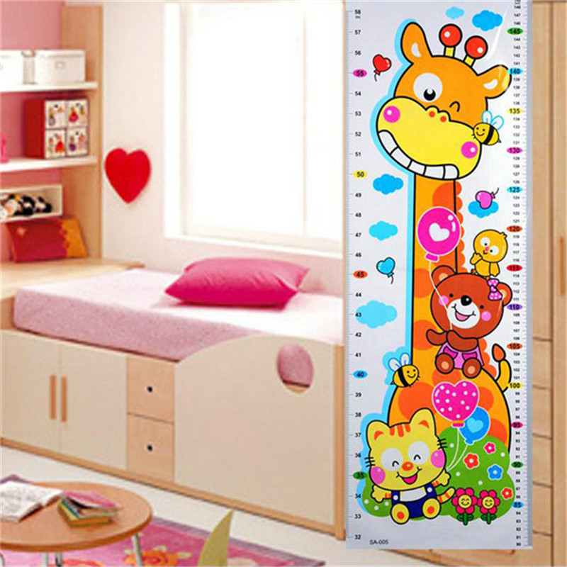 High Quality 1PC Kids Children Baby Growth Height Chart Wall Sticker Cartoon Giraffe Animal Height Sticker Home Decor