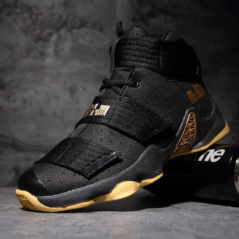 193fc9af20b ... Original Professional Men Basketball Shoes Air Cushion Women High Ankle  Top Sneakers Footwear Sport LBJ 11 ...