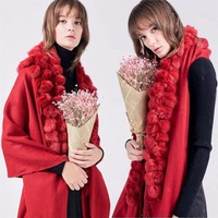 100% Real Genuine Cashmere Wrap Scarf Shawl Stole Women's Fashion Cape Tassels Real Rabbit Fur Balls Pompoms Big Warm Grey