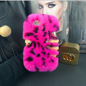 Luxury 3D real rex rabbit hair fur domesticated protective shell rhinestone Case Cover iPhone 6 6S 6plus 6splus 5 5S 5C 4 4S - yanzhu cai's store