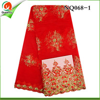 Free Shipping Red french net lace fabric with stones,perfect quality 5yards/pcs African lace fabric for women dress NQ068