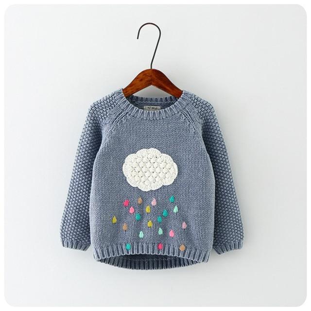 Новая зимняя мультфильм мальчиков и девочек свитер cloud капли дождя детская одежда детская свитер теплый с длинным рукавом для девочек трикотаж
