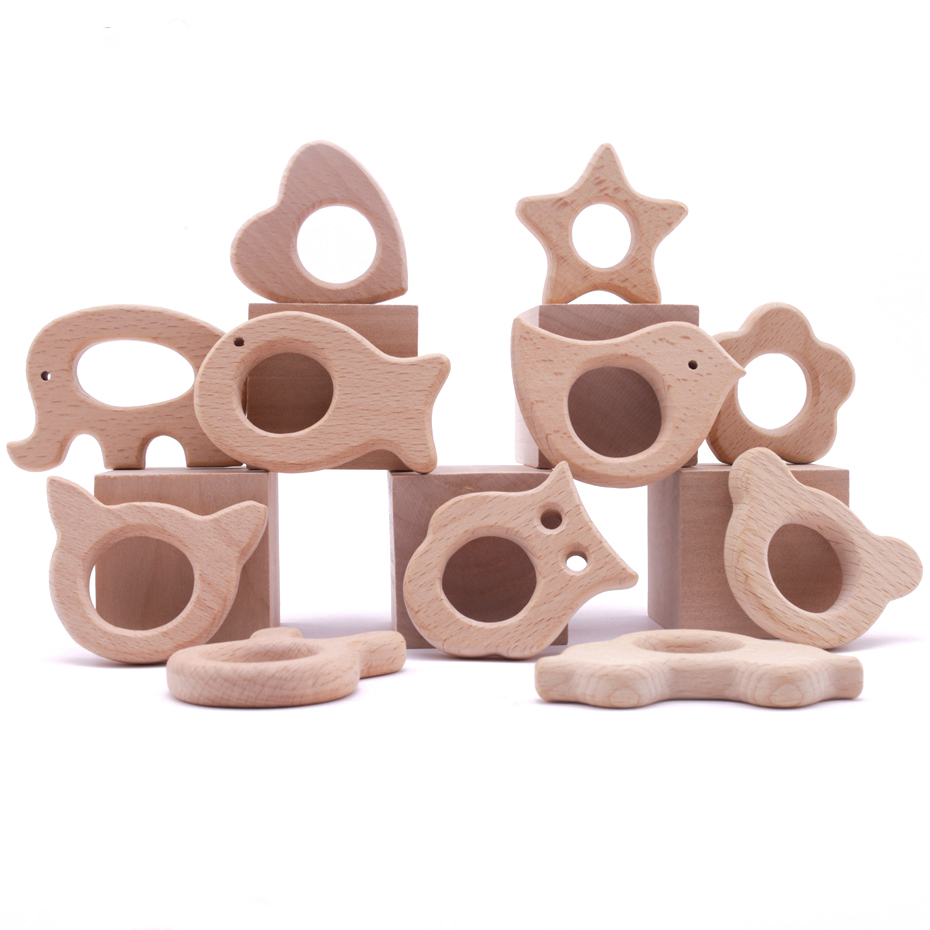 1pc Wooden Animal Beech Teething Wooden Teether For Pacifier Chain Rodent Tiny Rod Baby Teether Pendant Kids Koala Food Products
